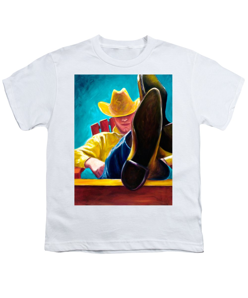 Western Youth T-Shirt featuring the painting Break Time by Shannon Grissom