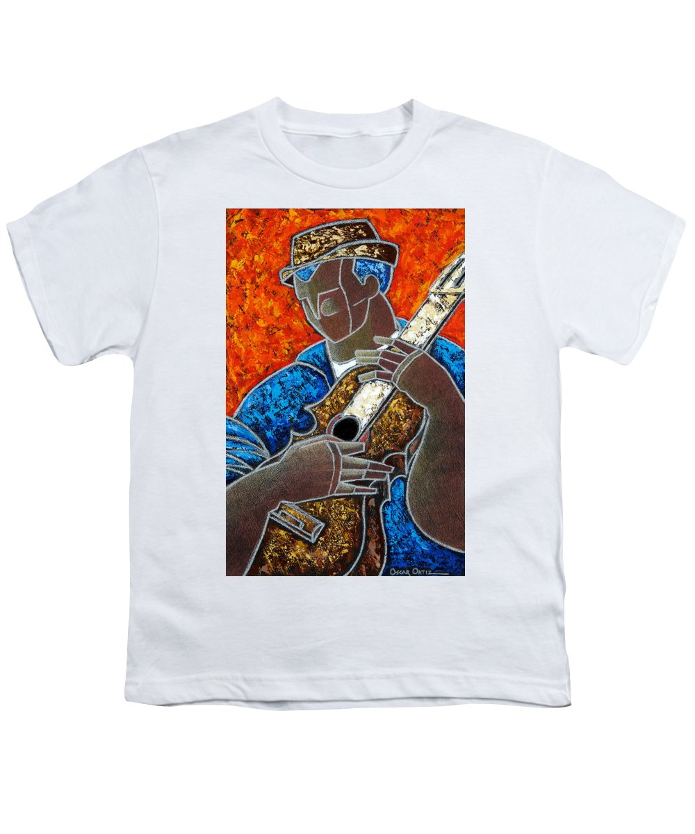 Puerto Rico Youth T-Shirt featuring the painting Solo De Cuatro by Oscar Ortiz