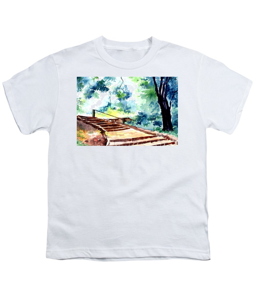 Landscape Youth T-Shirt featuring the painting Steps To Eternity by Anil Nene