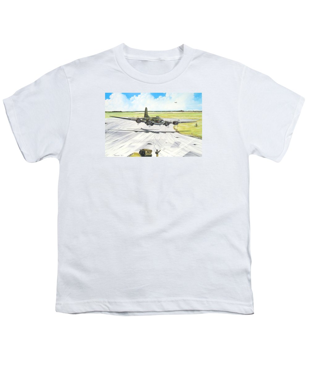Military Youth T-Shirt featuring the painting The Memphis Belle by Marc Stewart