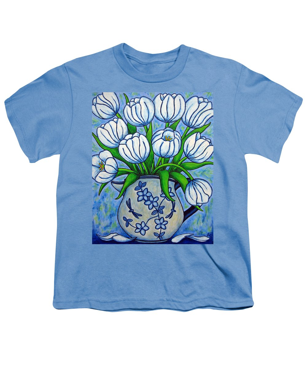 Flower Youth T-Shirt featuring the painting Tulip Tranquility by Lisa Lorenz