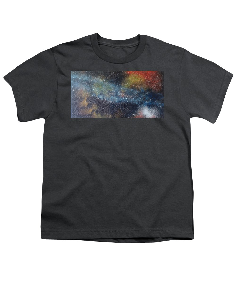 Space;stars;starry;nebula;spiral;galaxy;star Cluster;celestial;cosmos;universe;orgasm Youth T-Shirt featuring the painting Stargasm by Sean Connolly