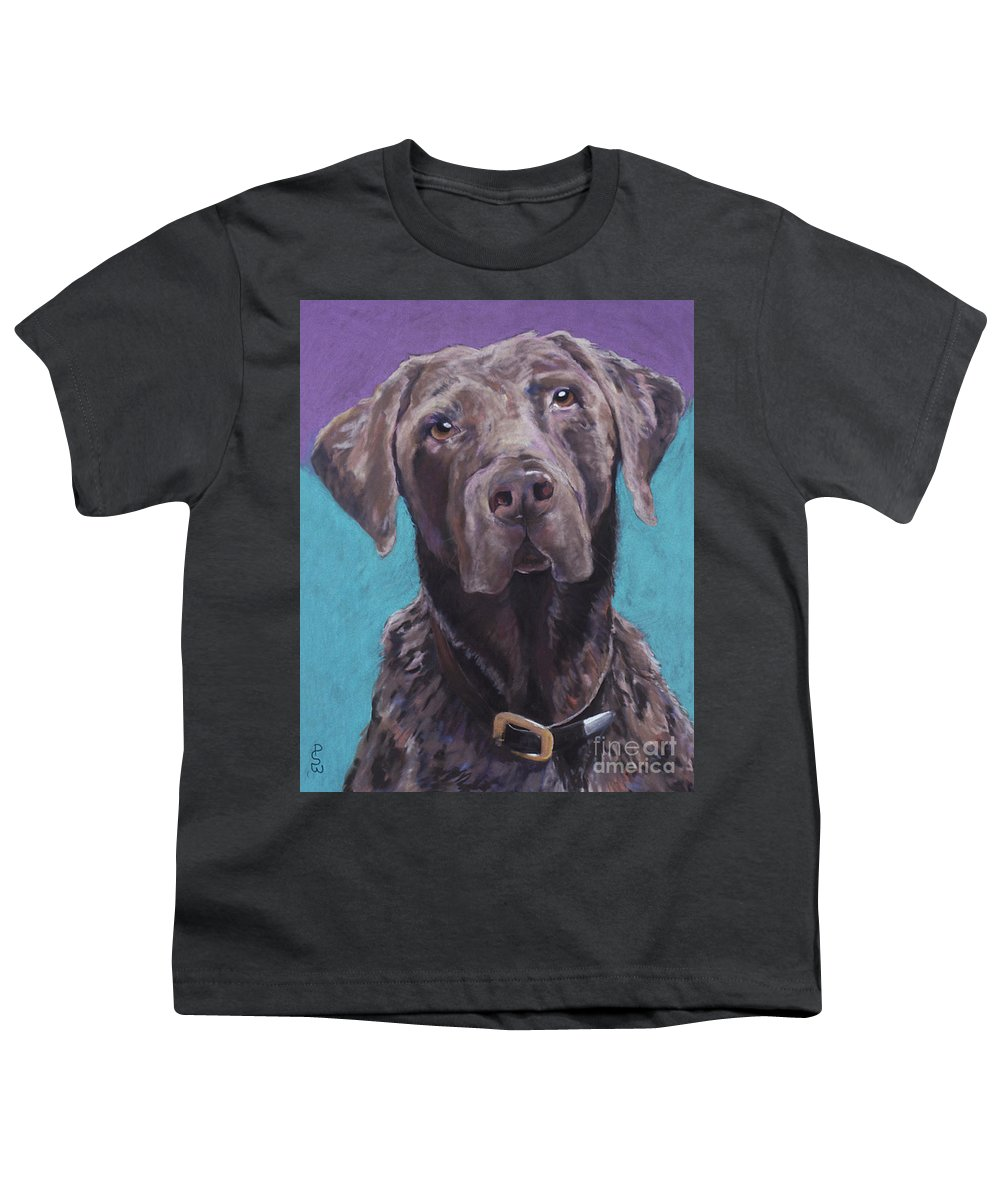 Pet Portrait Commissions Youth T-Shirt featuring the painting 100 Lbs. Of Chocolate Love by Pat Saunders-White