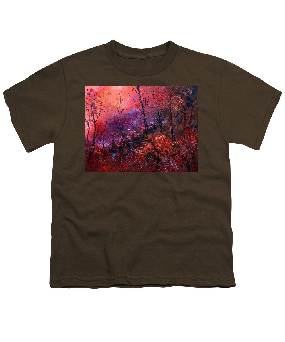 Wood Sunset Tree Youth T-Shirt featuring the painting Unset In The Wood by Pol Ledent