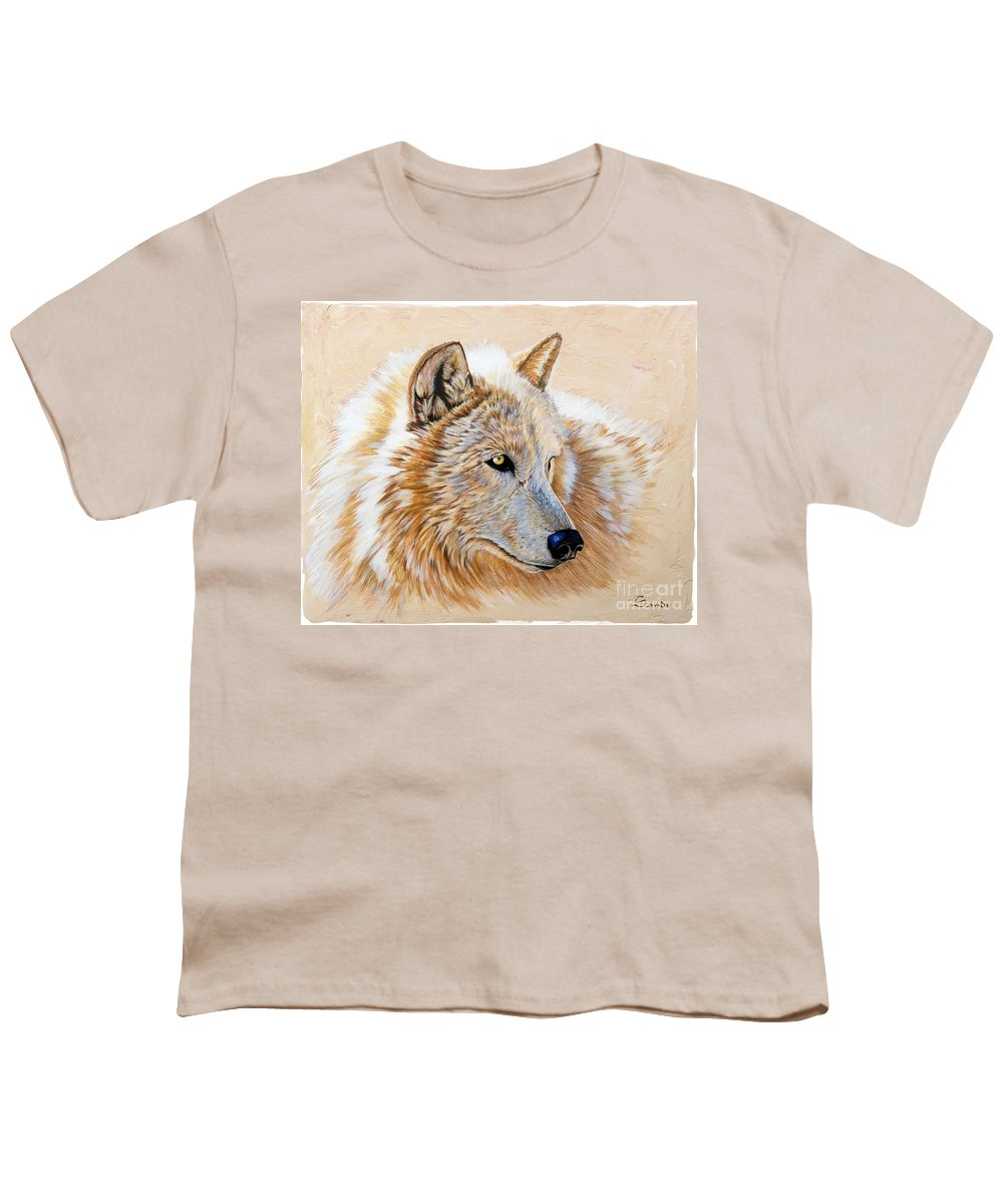 Acrylic Youth T-Shirt featuring the painting Adobe White by Sandi Baker