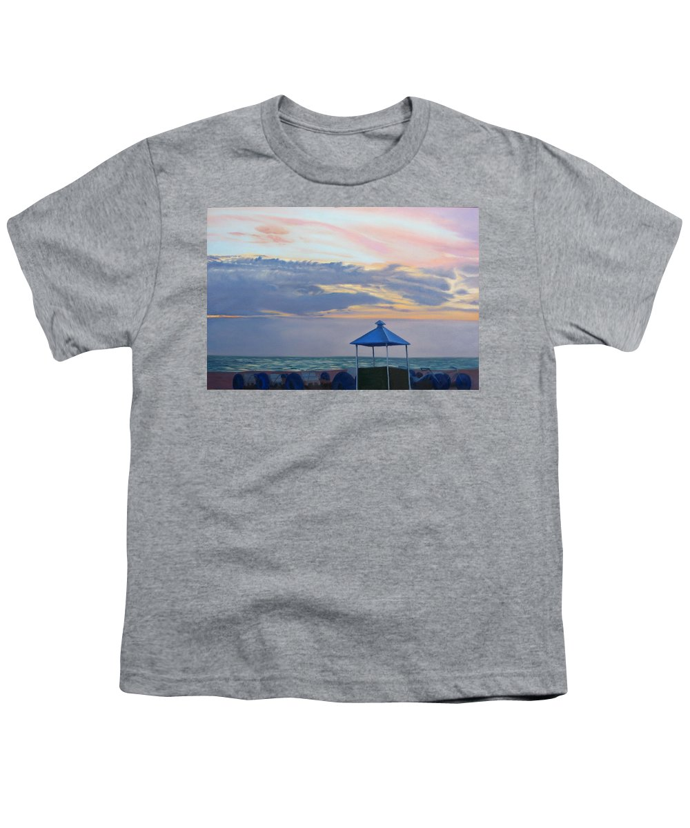 Sunset Youth T-Shirt featuring the painting Day Is Done by Lea Novak