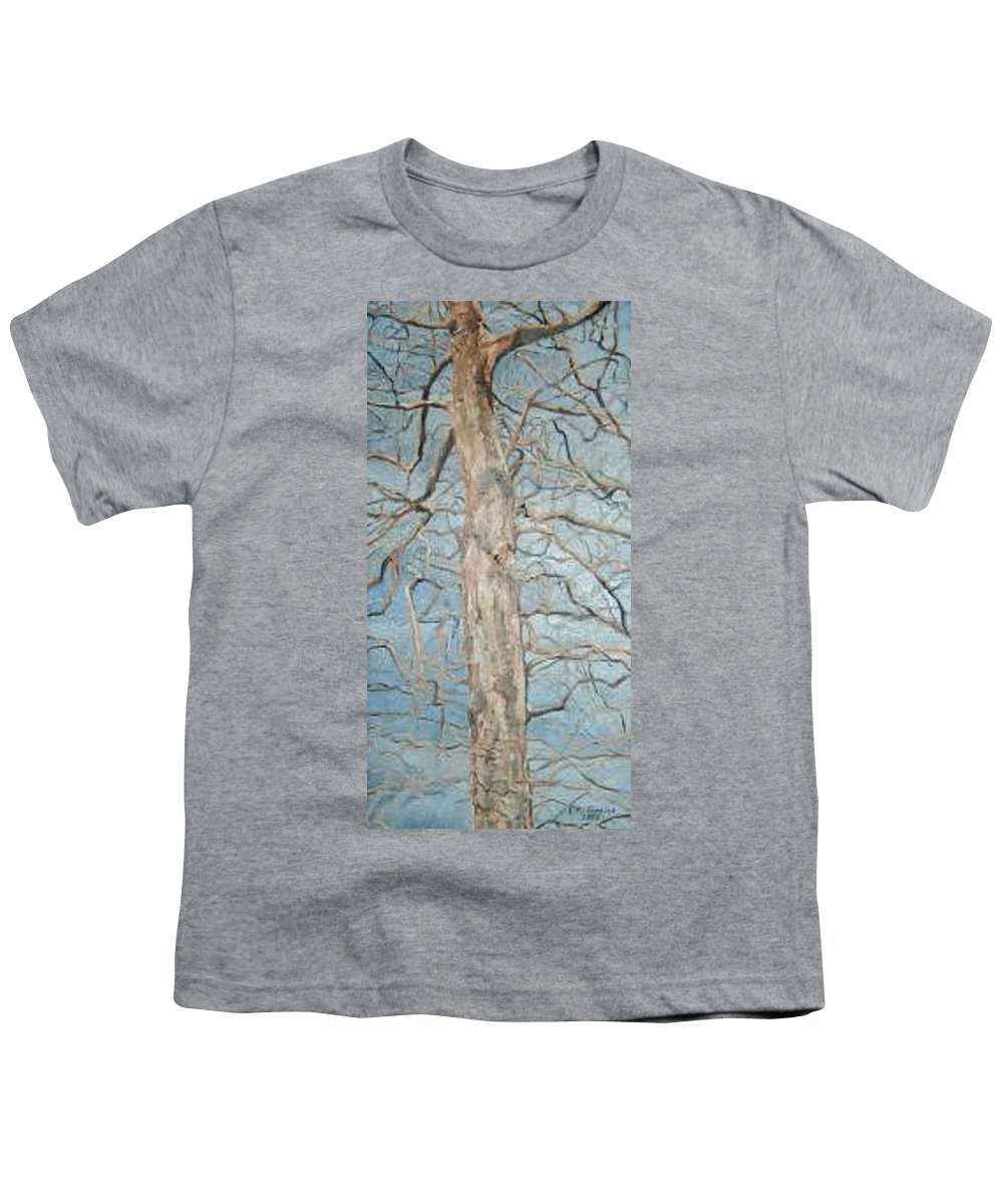 Tree Youth T-Shirt featuring the painting Winter Morning by Leah Tomaino