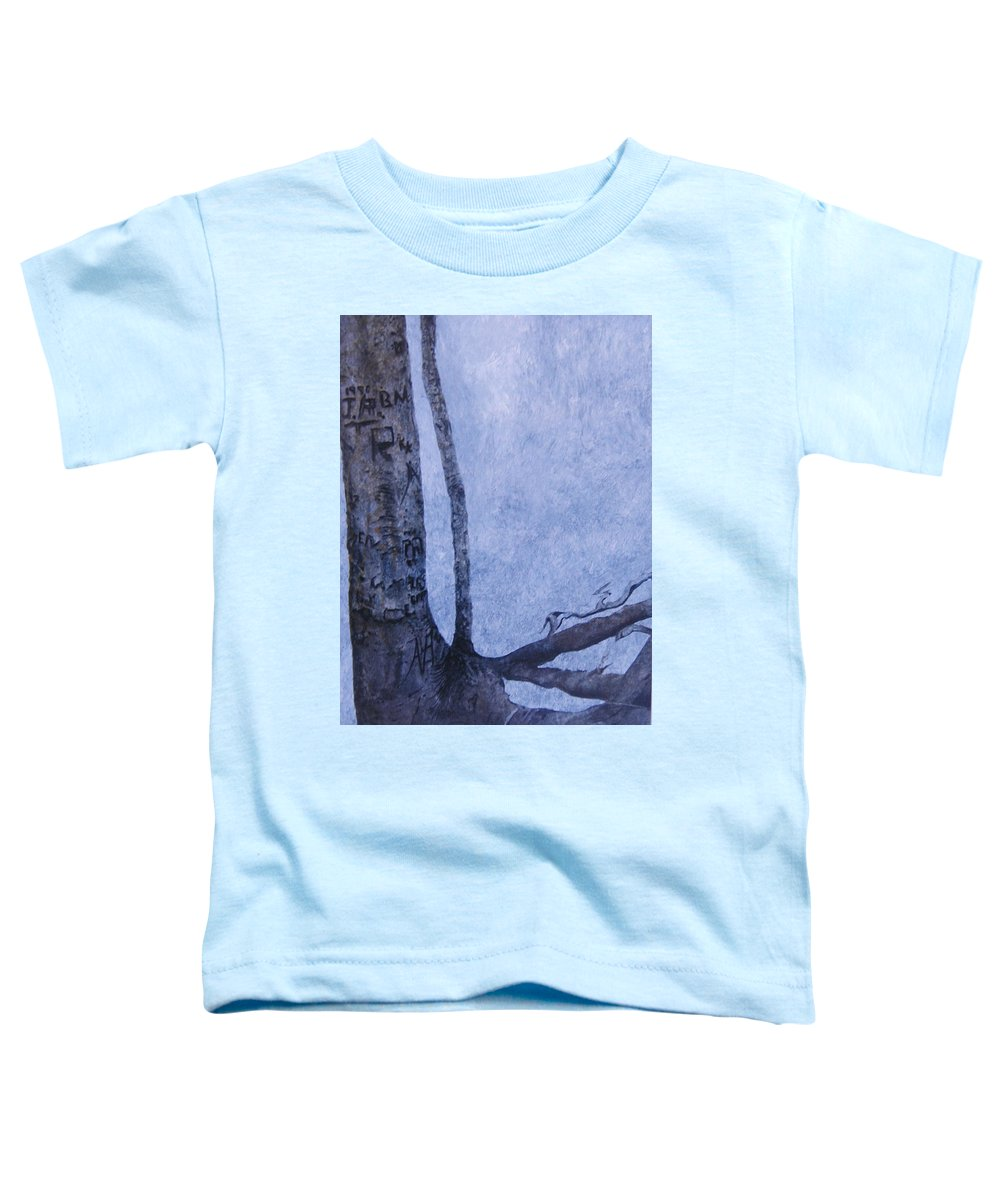 Tree Trunk Toddler T-Shirt featuring the painting Hedden Park II by Leah Tomaino
