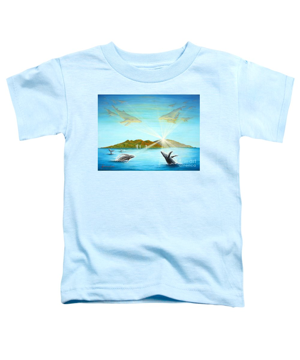 Whales Toddler T-Shirt featuring the painting The Whales Of Maui by Jerome Stumphauzer