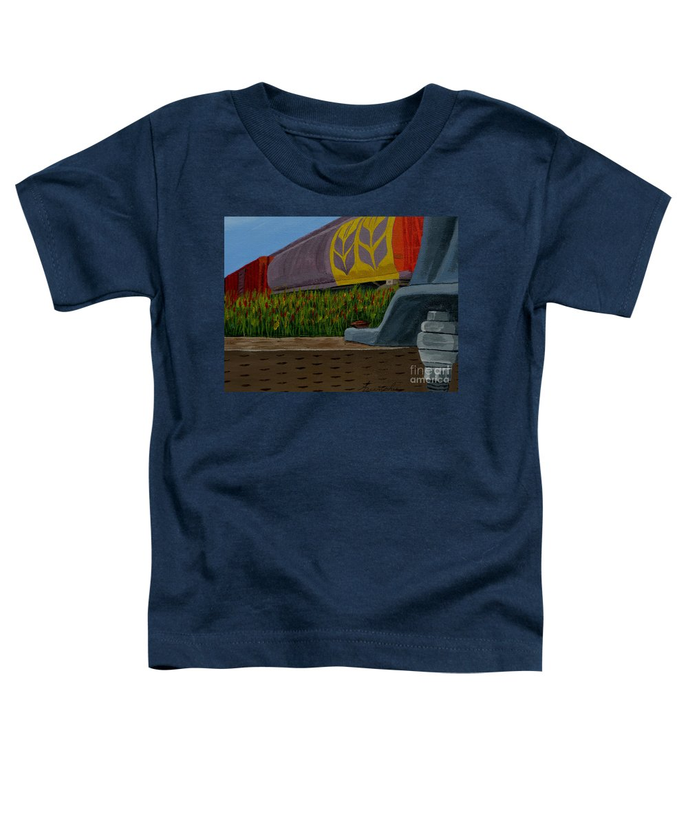 Train Toddler T-Shirt featuring the painting Passing The Wild Ones by Anthony Dunphy
