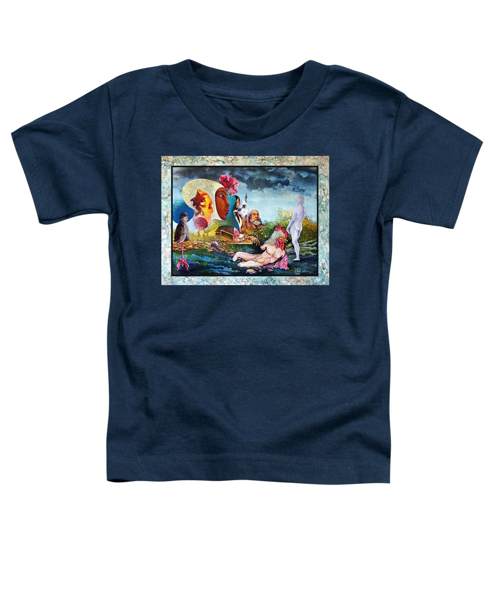 Surrealism Toddler T-Shirt featuring the mixed media Hour Of The Cock by Otto Rapp