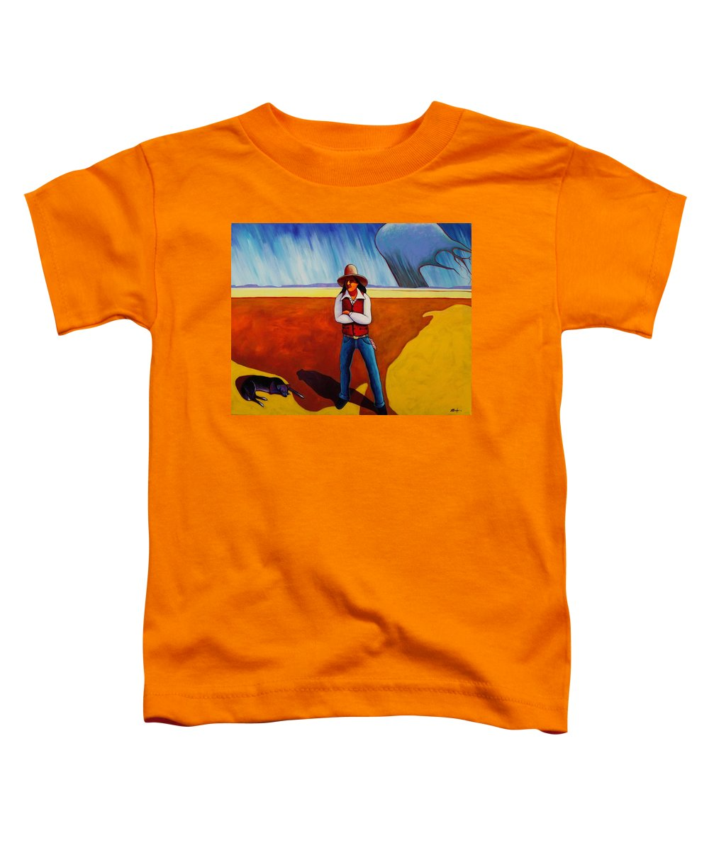 Native American Toddler T-Shirt featuring the painting The Logic Of Solitude by Joe Triano