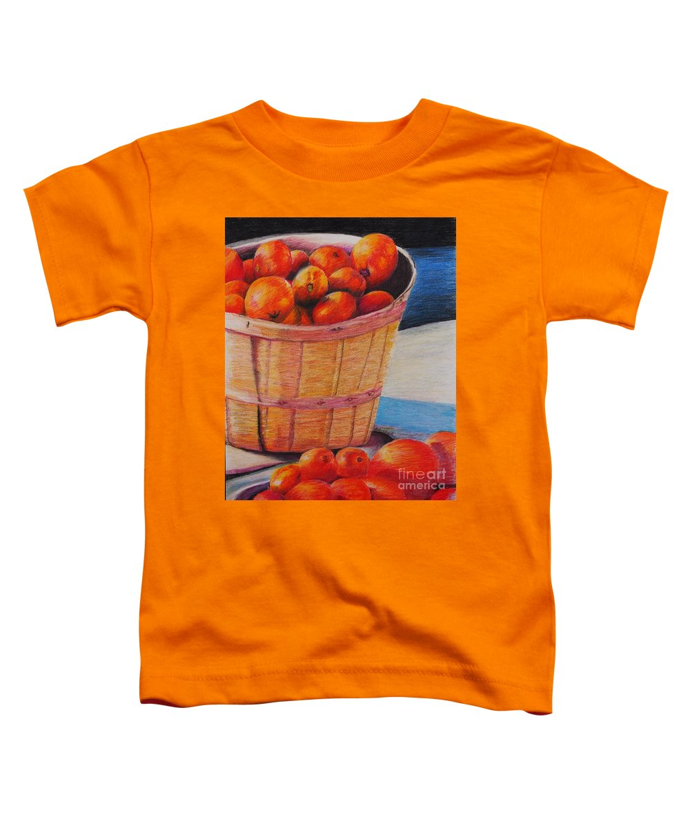 Produce In A Basket Toddler T-Shirt featuring the drawing Farmers Market Produce by Nadine Rippelmeyer