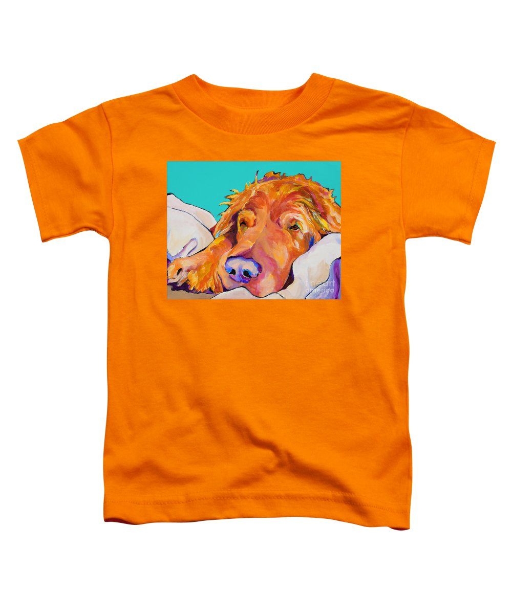 Dog Poortraits Toddler T-Shirt featuring the painting Snoozer King by Pat Saunders-White