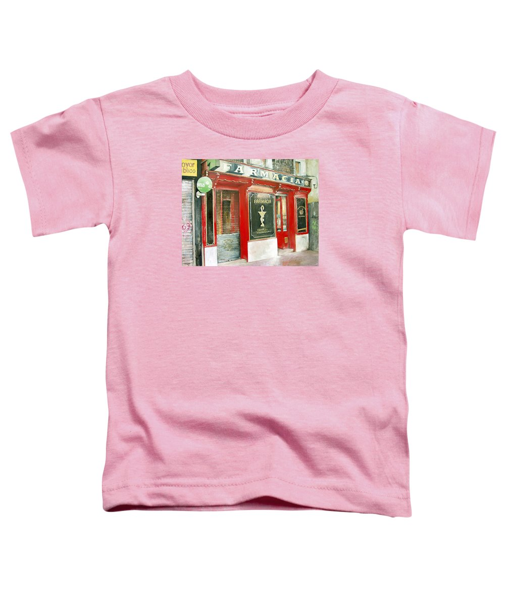 Farmacia Toddler T-Shirt featuring the painting Old Pharmacy by Tomas Castano