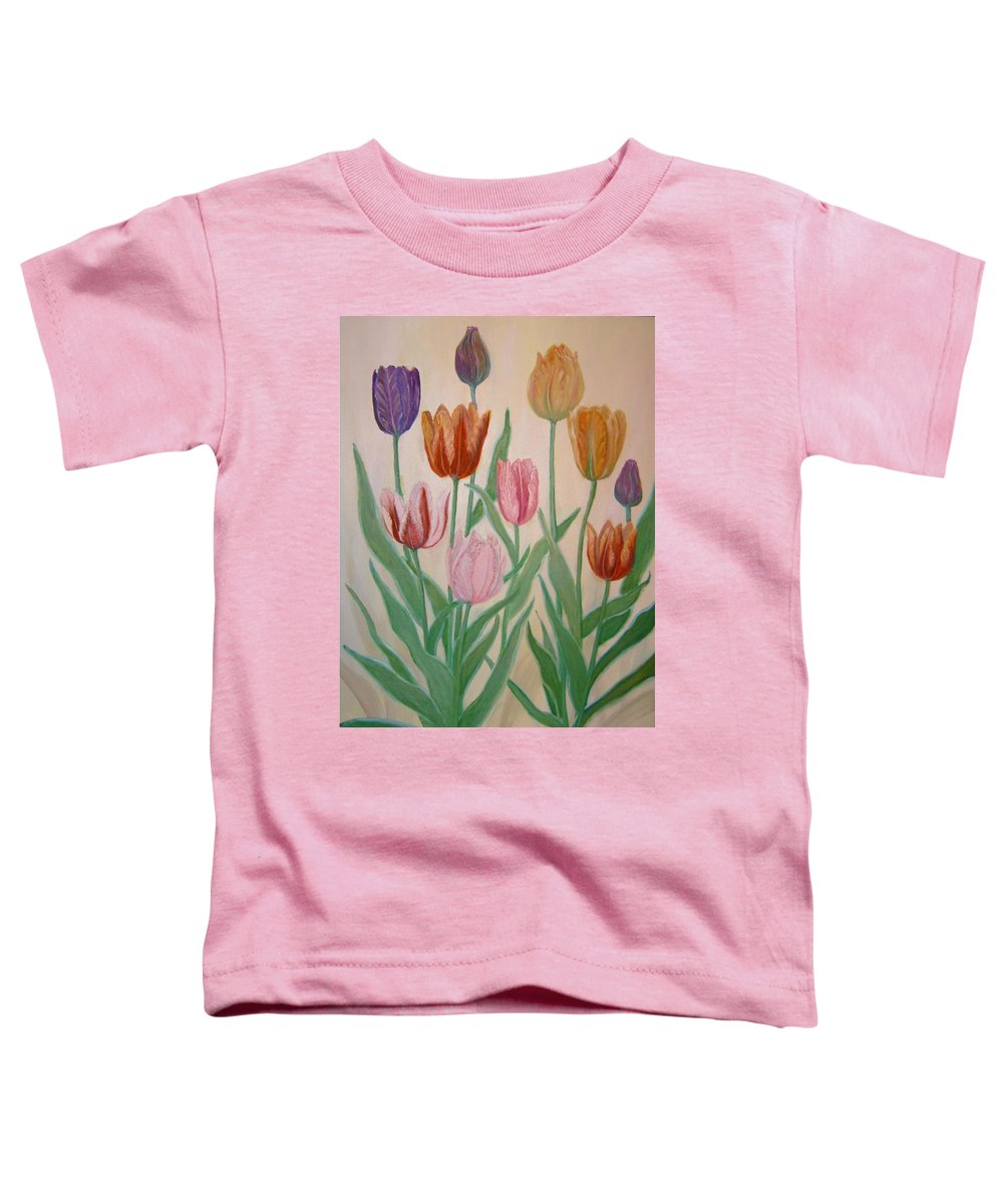 Flowers Of Spring Toddler T-Shirt featuring the painting Tulips by Ben Kiger