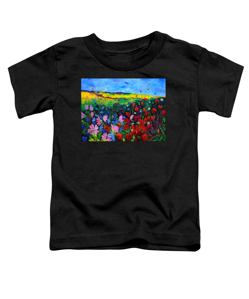 Poppies Toddler T-Shirt featuring the painting Field Flowers by Pol Ledent
