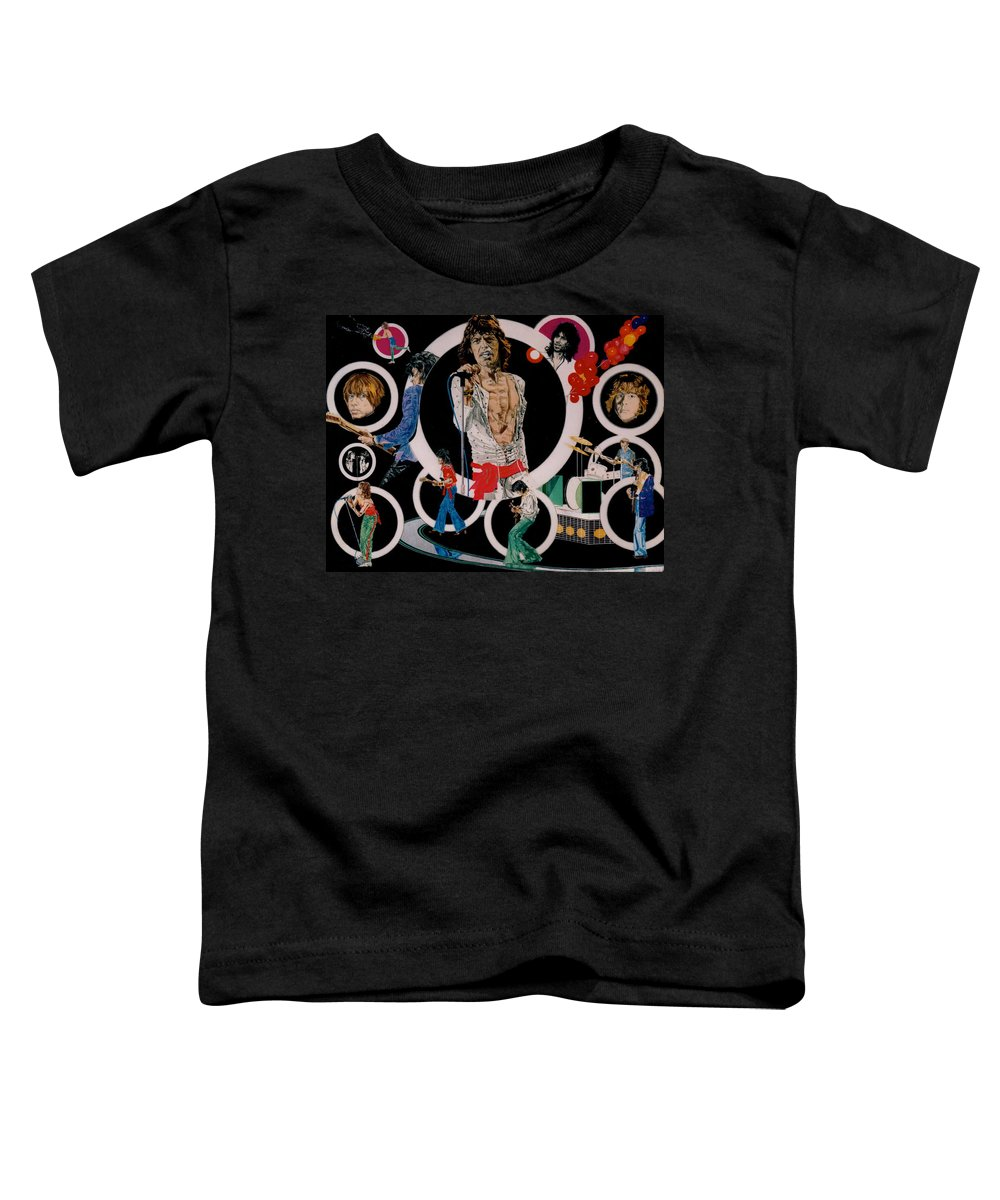 Mick Jagger;keith Richards;brian Jones;charlie Watts;bill Wyman;rock & Roll;music;guitars;water Toddler T-Shirt featuring the drawing Ladies And Gentlemen -the Rolling Stones by Sean Connolly