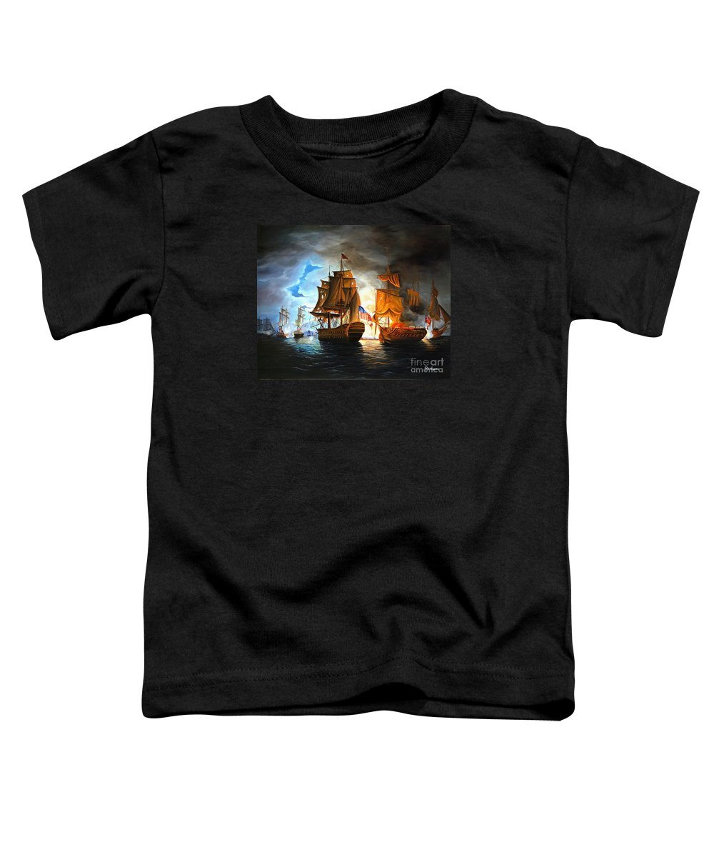 Naval Battle Toddler T-Shirt featuring the painting Bonhomme Richard Engaging The Serapis In Battle by Paul Walsh
