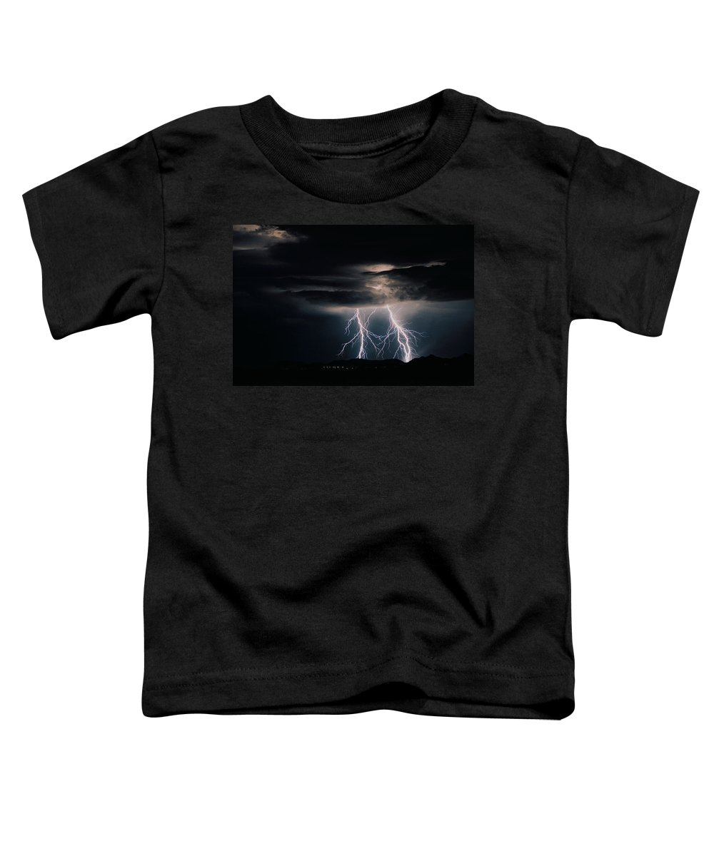 Arizona Toddler T-Shirt featuring the photograph Carefree Lightning by Cathy Franklin