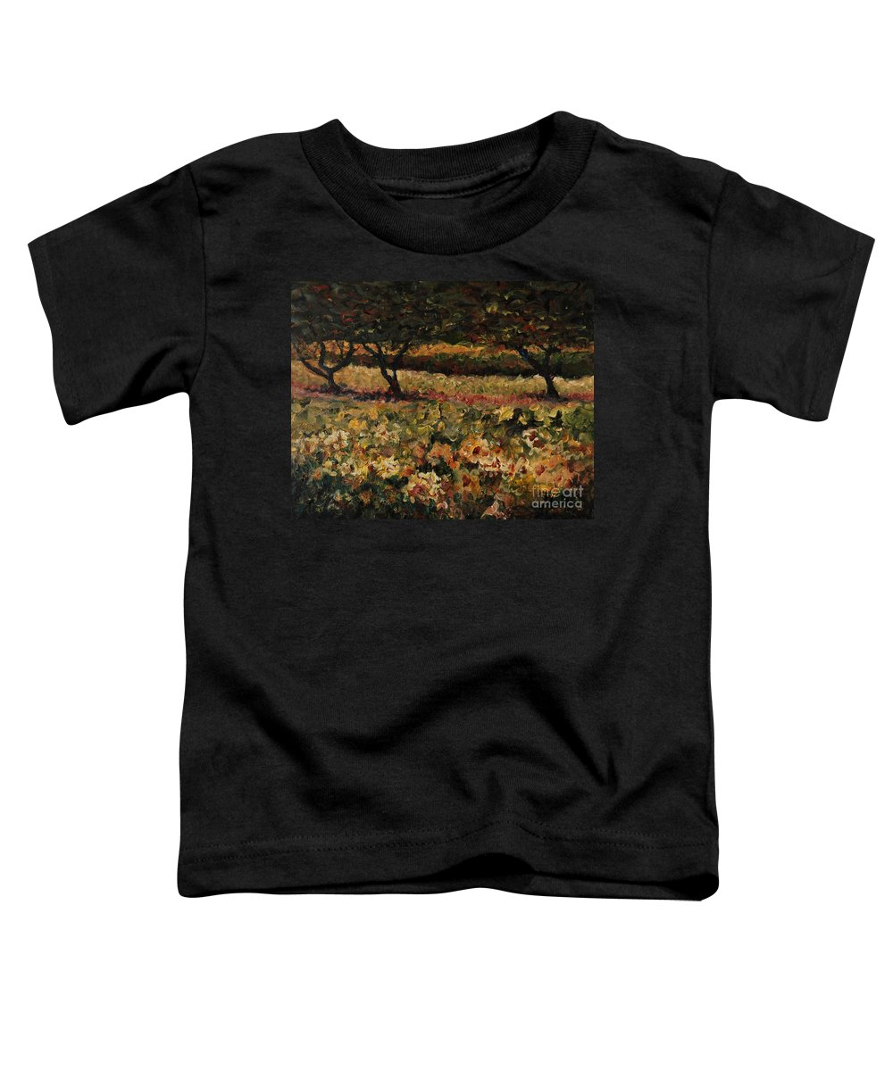 Landscape Toddler T-Shirt featuring the painting Golden Sunflowers by Nadine Rippelmeyer