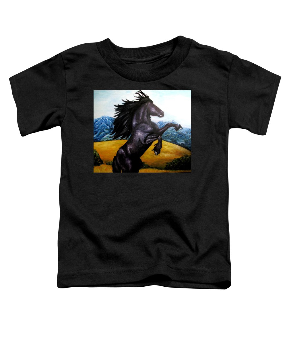 Horse Toddler T-Shirt featuring the painting Horse Oil Painting by Natalja Picugina