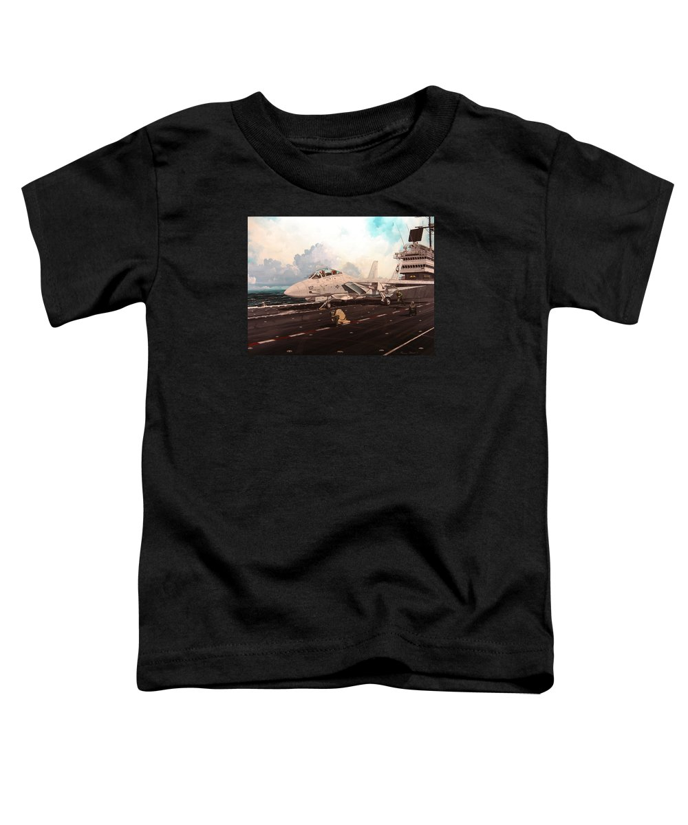 Military Toddler T-Shirt featuring the painting Launch The Alert 5 by Marc Stewart