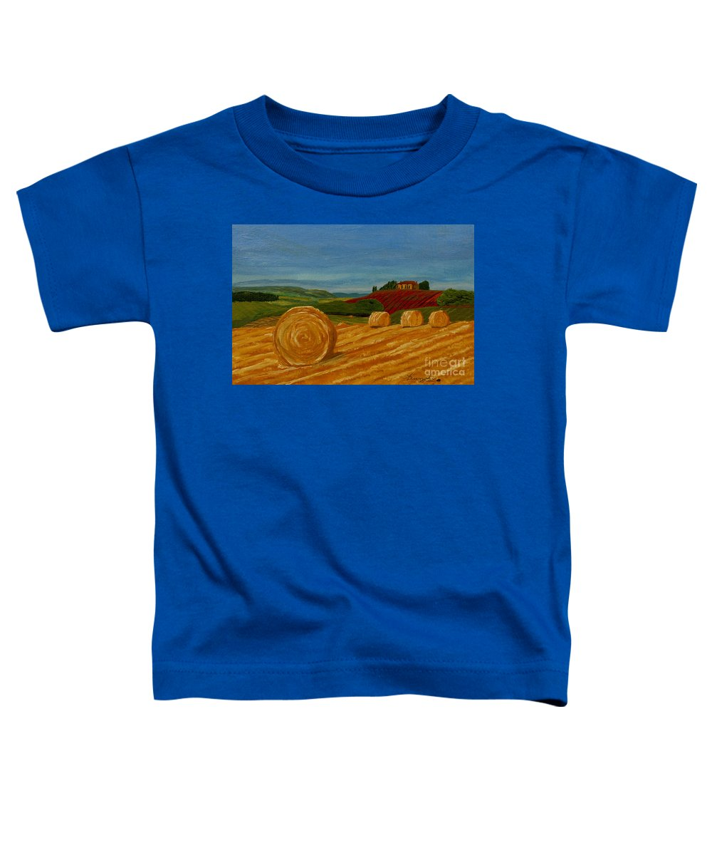 Hay Toddler T-Shirt featuring the painting Field Of Golden Hay by Anthony Dunphy