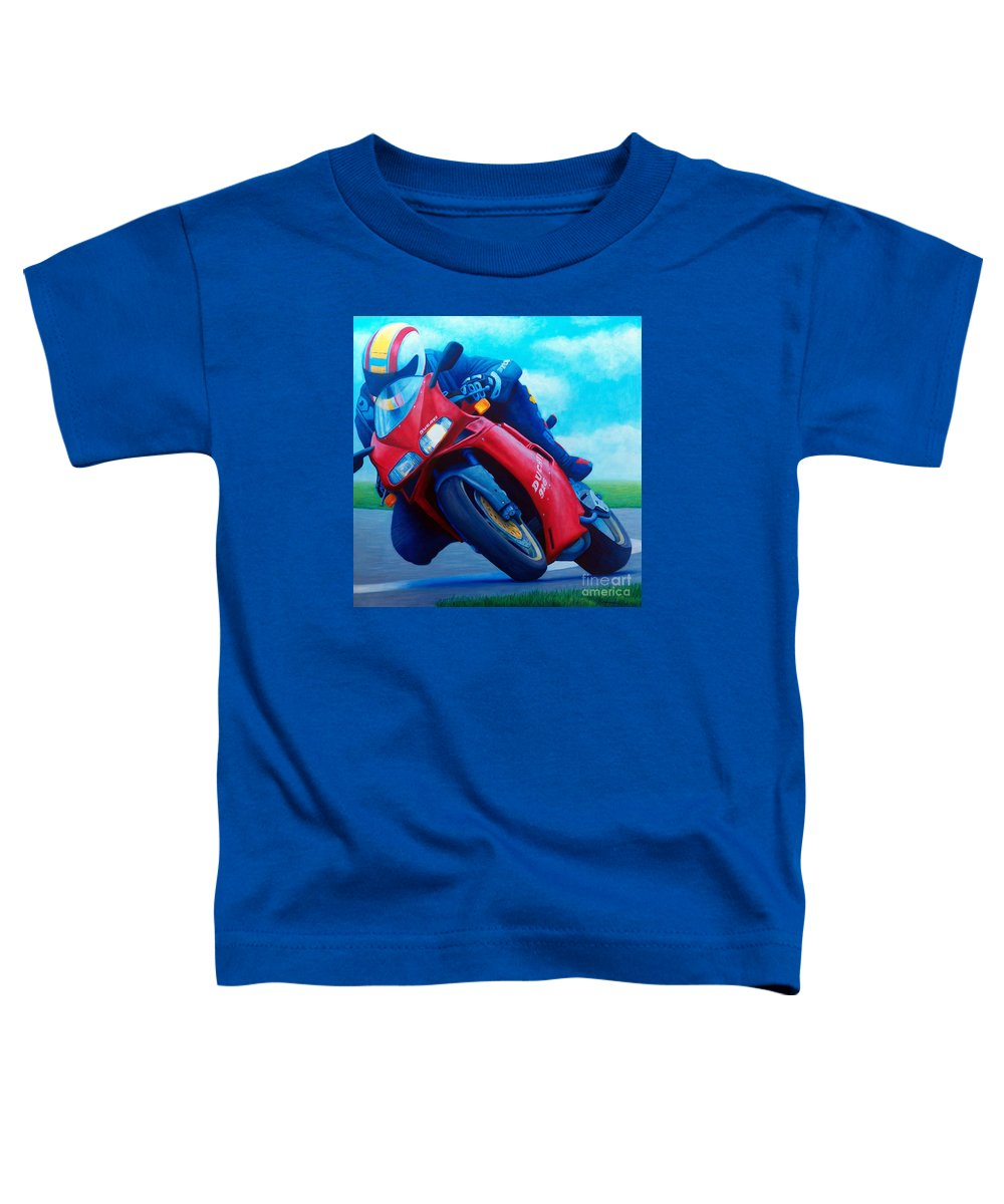 Motorcycle Toddler T-Shirt featuring the painting Ducati 916 by Brian Commerford