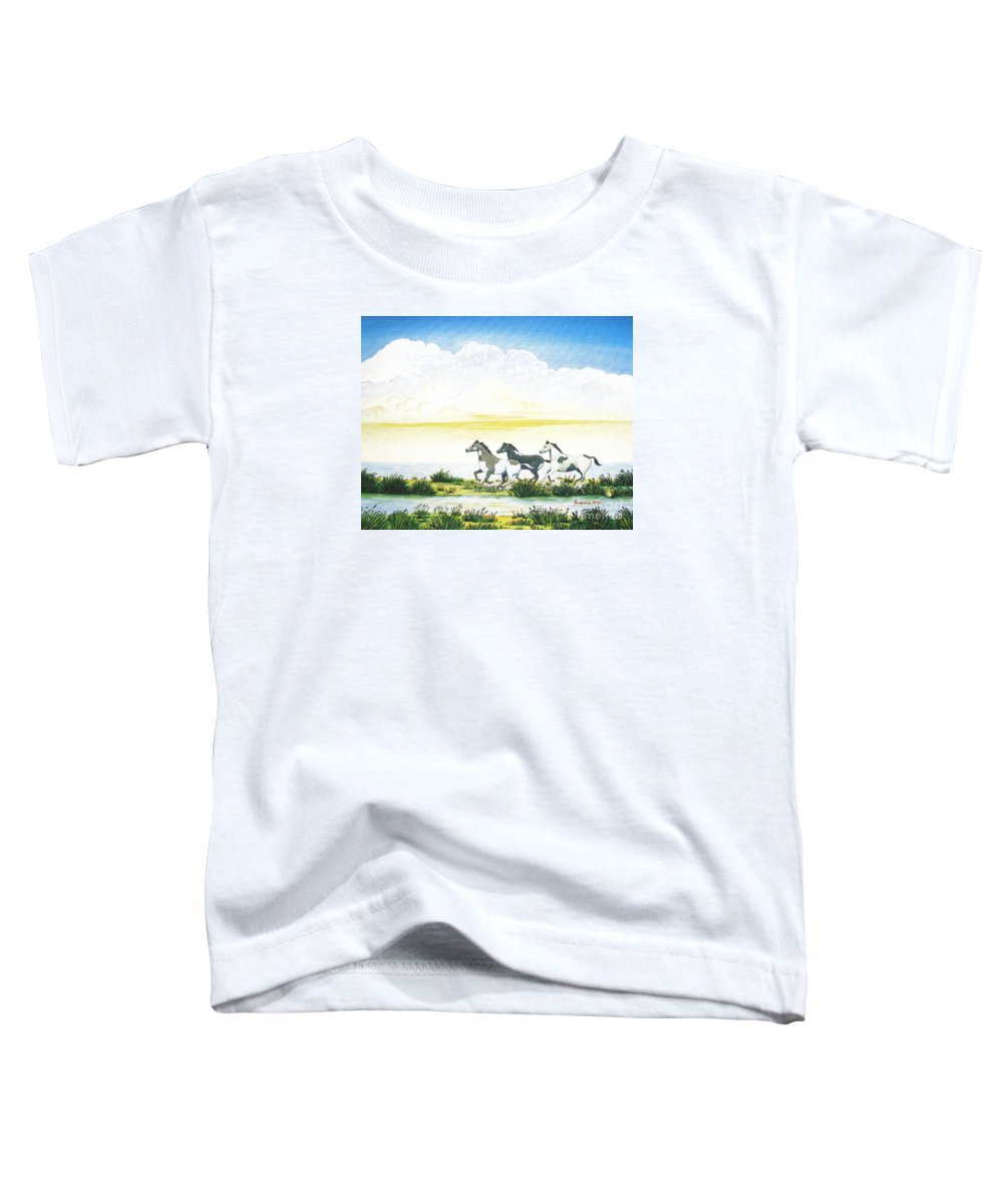 Chincoteague Toddler T-Shirt featuring the painting Indian Ponies by Jerome Stumphauzer