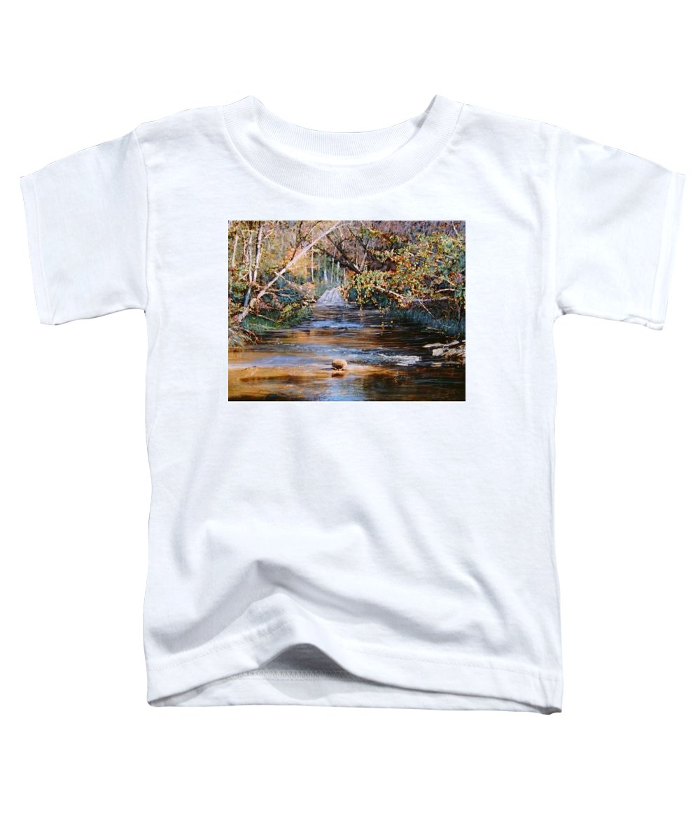 River; Waterfalls Toddler T-Shirt featuring the painting My Secret Place by Ben Kiger