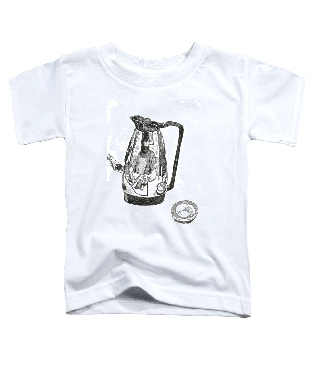 Pen And Ink Toddler T-Shirt featuring the drawing Coffee Pot by Tobey Anderson