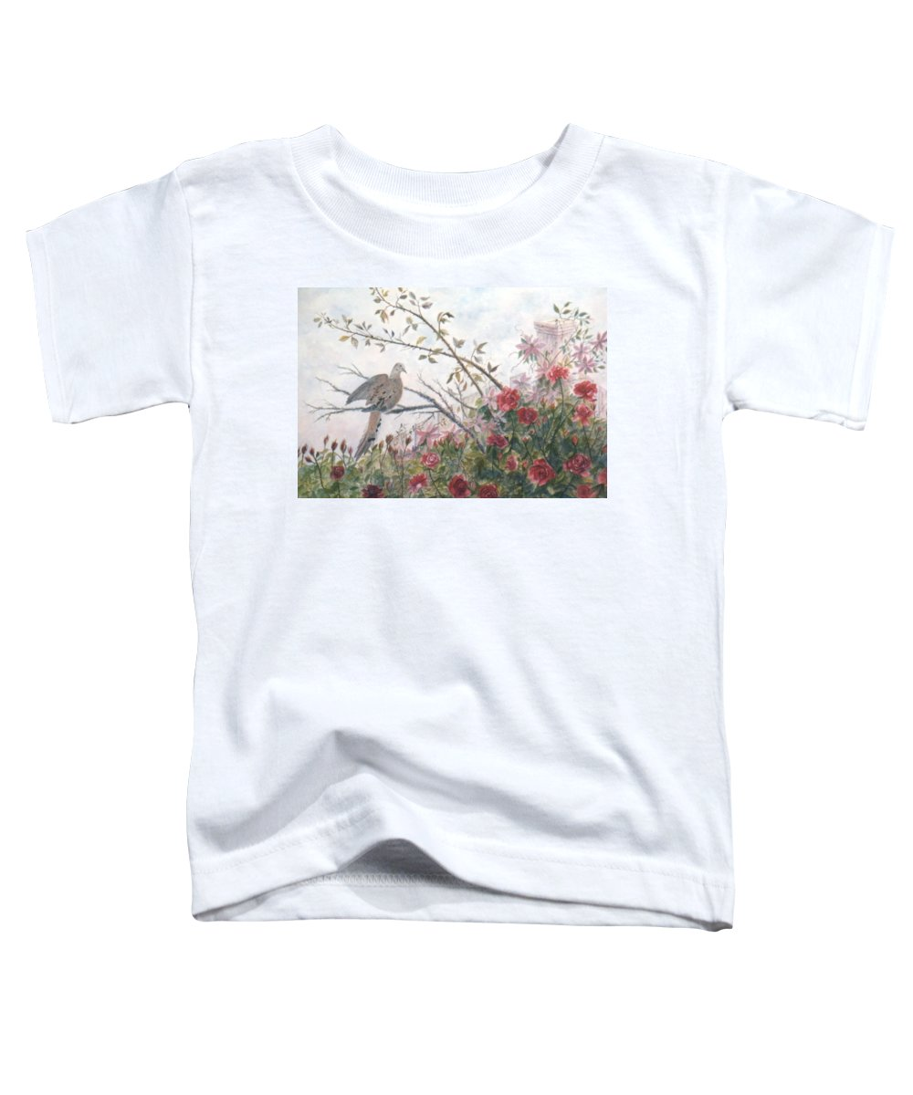 Dove; Roses Toddler T-Shirt featuring the painting Dove And Roses by Ben Kiger