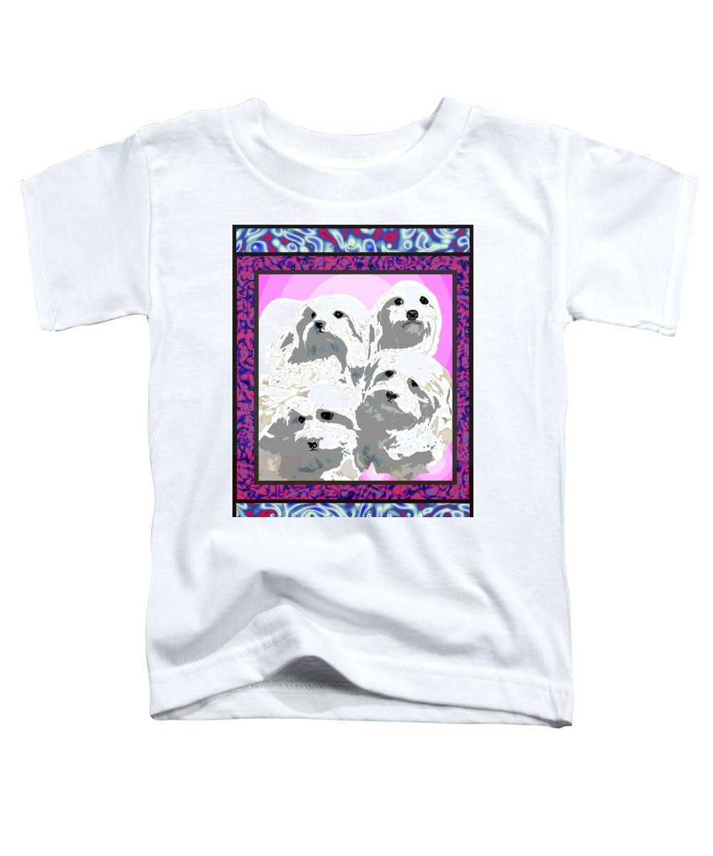 Maltese Group Toddler T-Shirt featuring the digital art Maltese Group by Kathleen Sepulveda