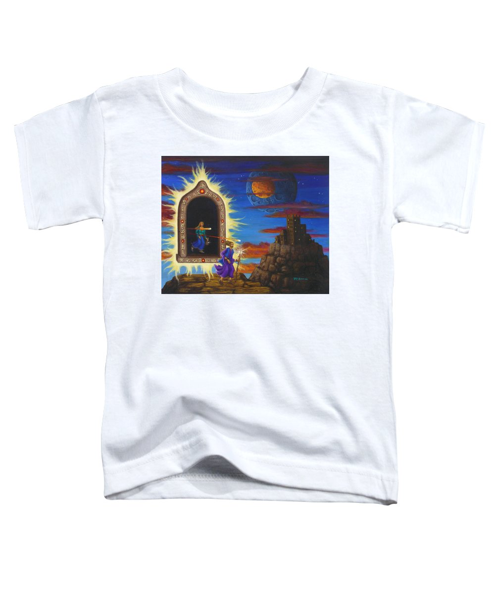 Fantasy Toddler T-Shirt featuring the painting Narrow Escape by Roz Eve