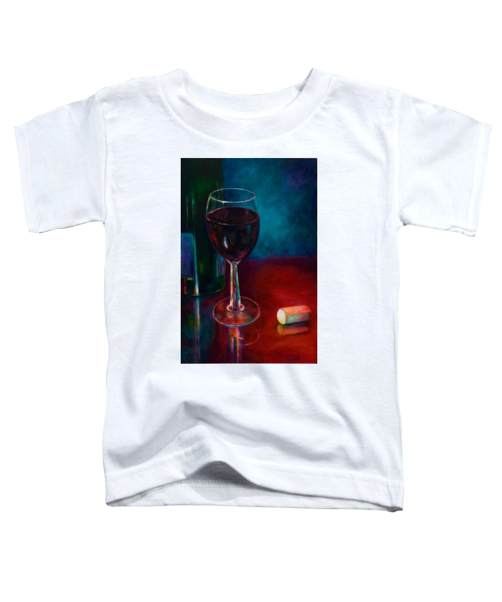 Wine Bottle Toddler T-Shirt featuring the painting Zinfandel by Shannon Grissom