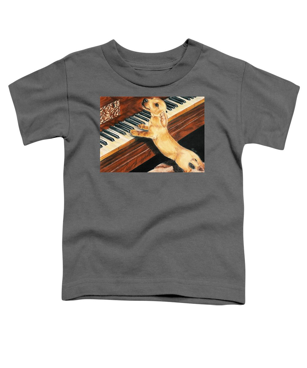 Dogs Toddler T-Shirt featuring the drawing Mozart's Apprentice by Barbara Keith