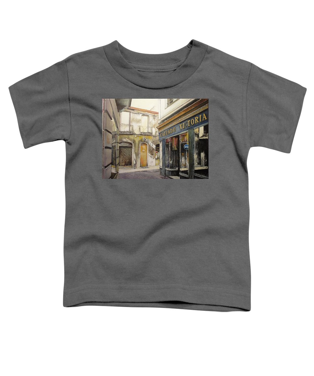 Calzados Toddler T-Shirt featuring the painting Calzados Victoria-leon by Tomas Castano