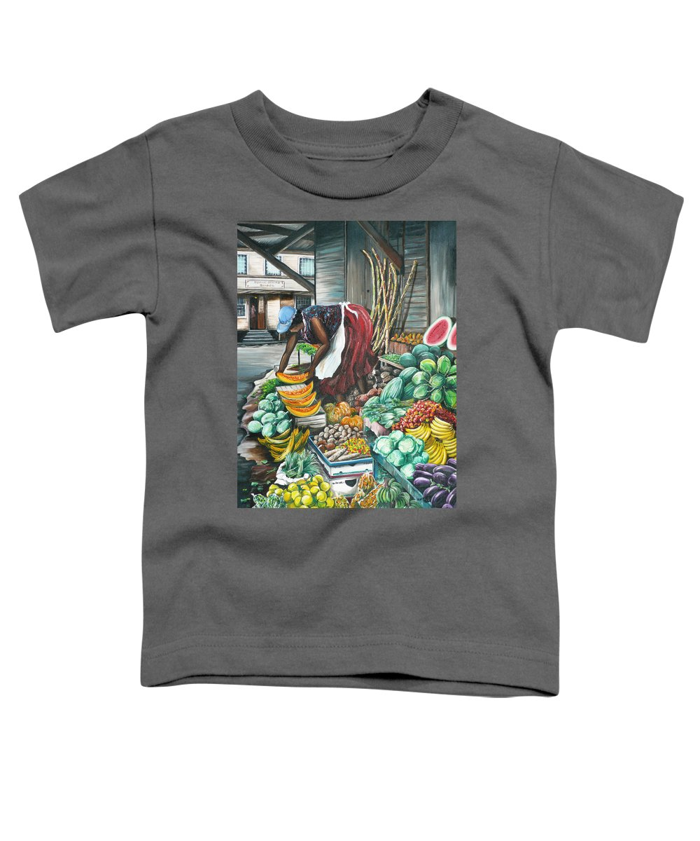 Caribbean Painting Market Vendor Painting Caribbean Market Painting Fruit Painting Vegetable Painting Woman Painting Tropical Painting City Scape Trinidad And Tobago Painting Typical Roadside Market Vendor In Trinidad Toddler T-Shirt featuring the painting Caribbean Market Day by Karin Dawn Kelshall- Best