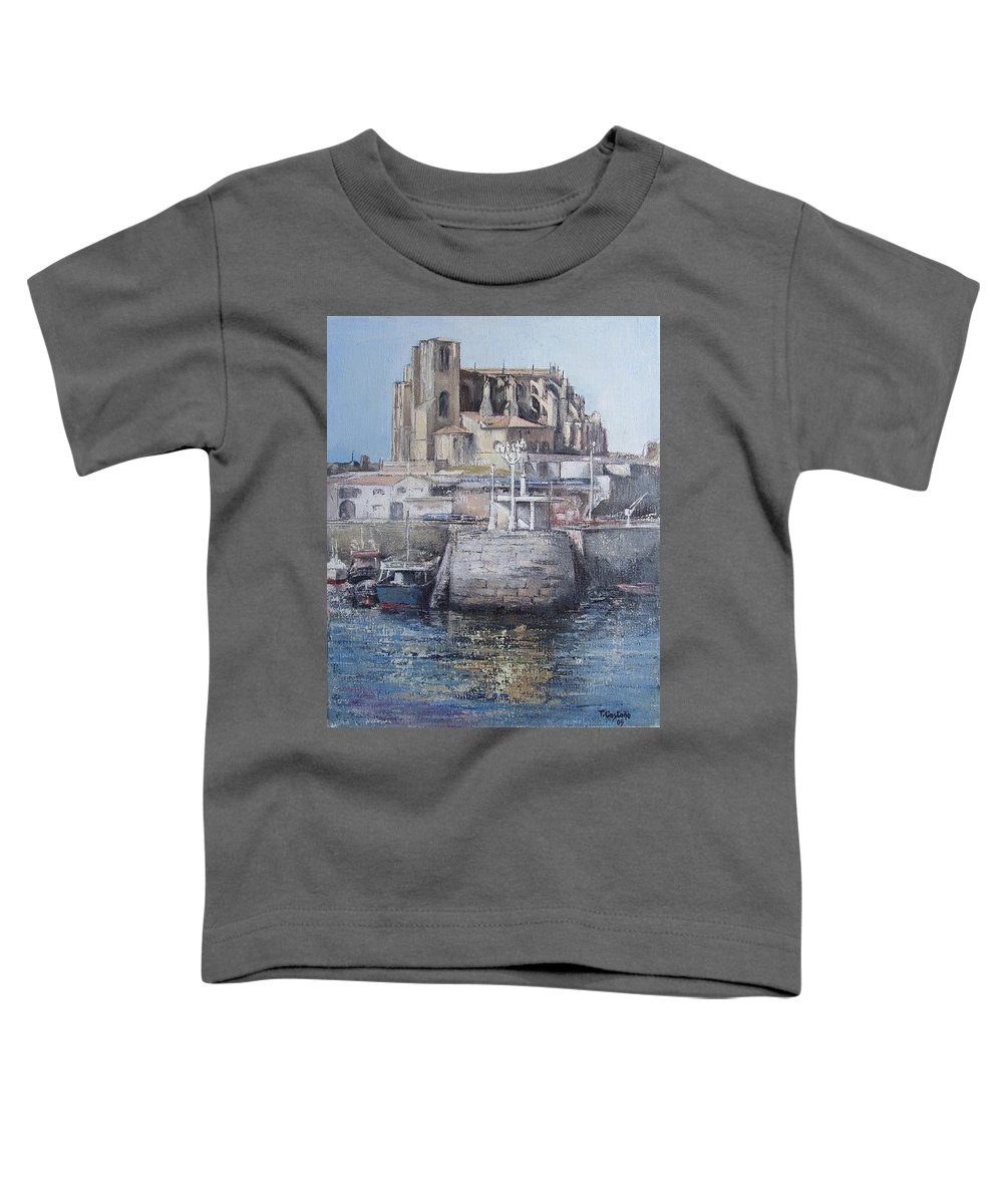 Castro Toddler T-Shirt featuring the painting Castro Urdiales by Tomas Castano