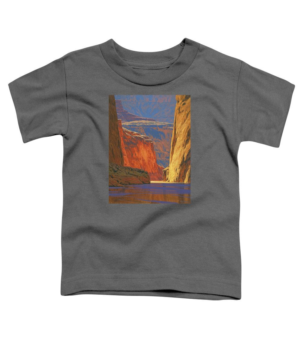 Grand Canyon Toddler T-Shirt featuring the painting Deep In The Canyon by Cody DeLong