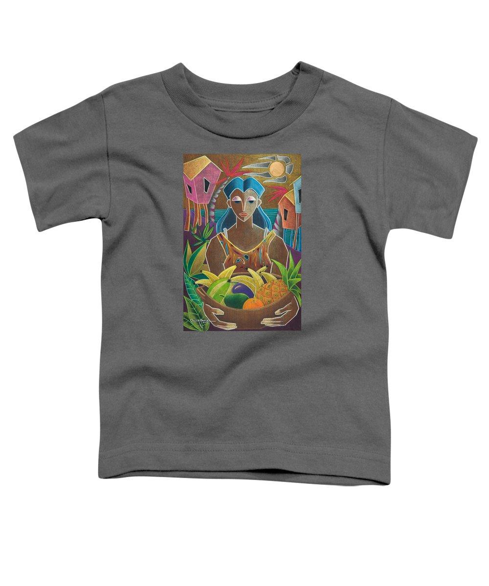 Female Toddler T-Shirt featuring the painting Ofrendas De Mi Tierra by Oscar Ortiz
