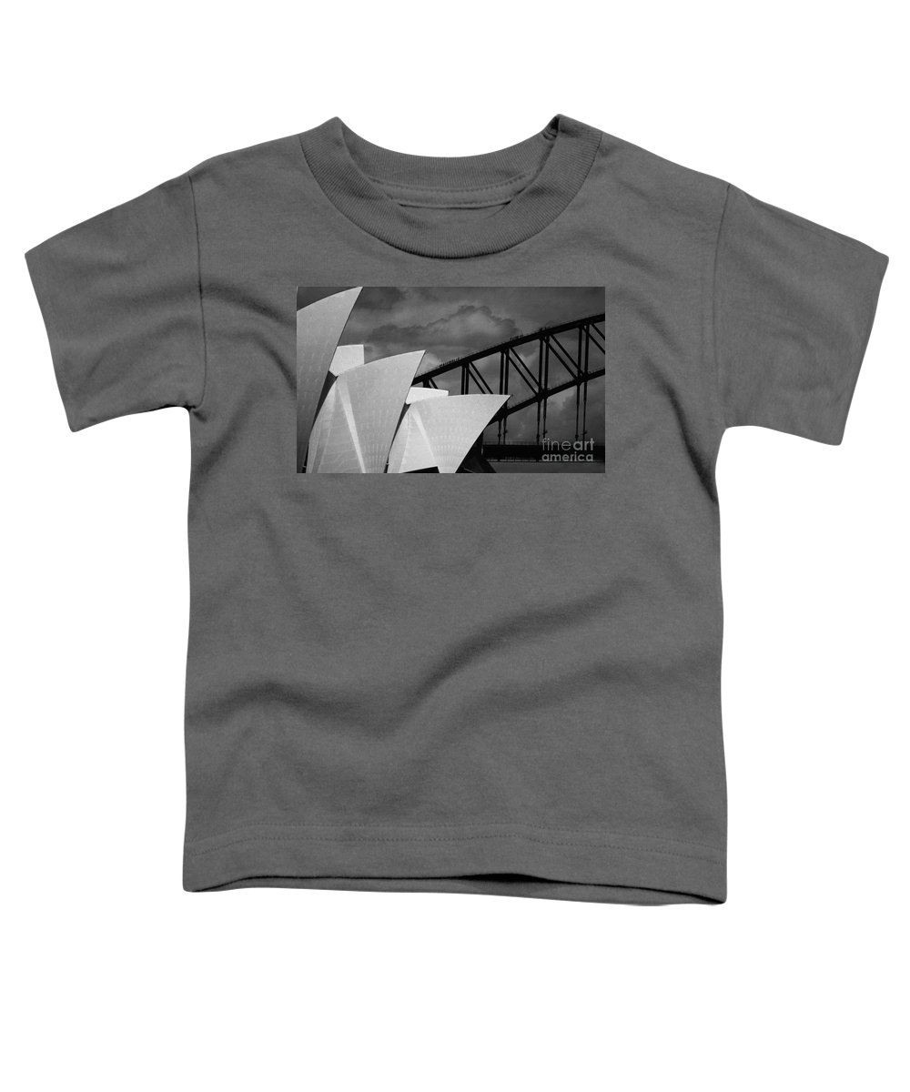Sydney Opera House Toddler T-Shirt featuring the photograph Sydney Opera House With Harbour Bridge by Avalon Fine Art Photography