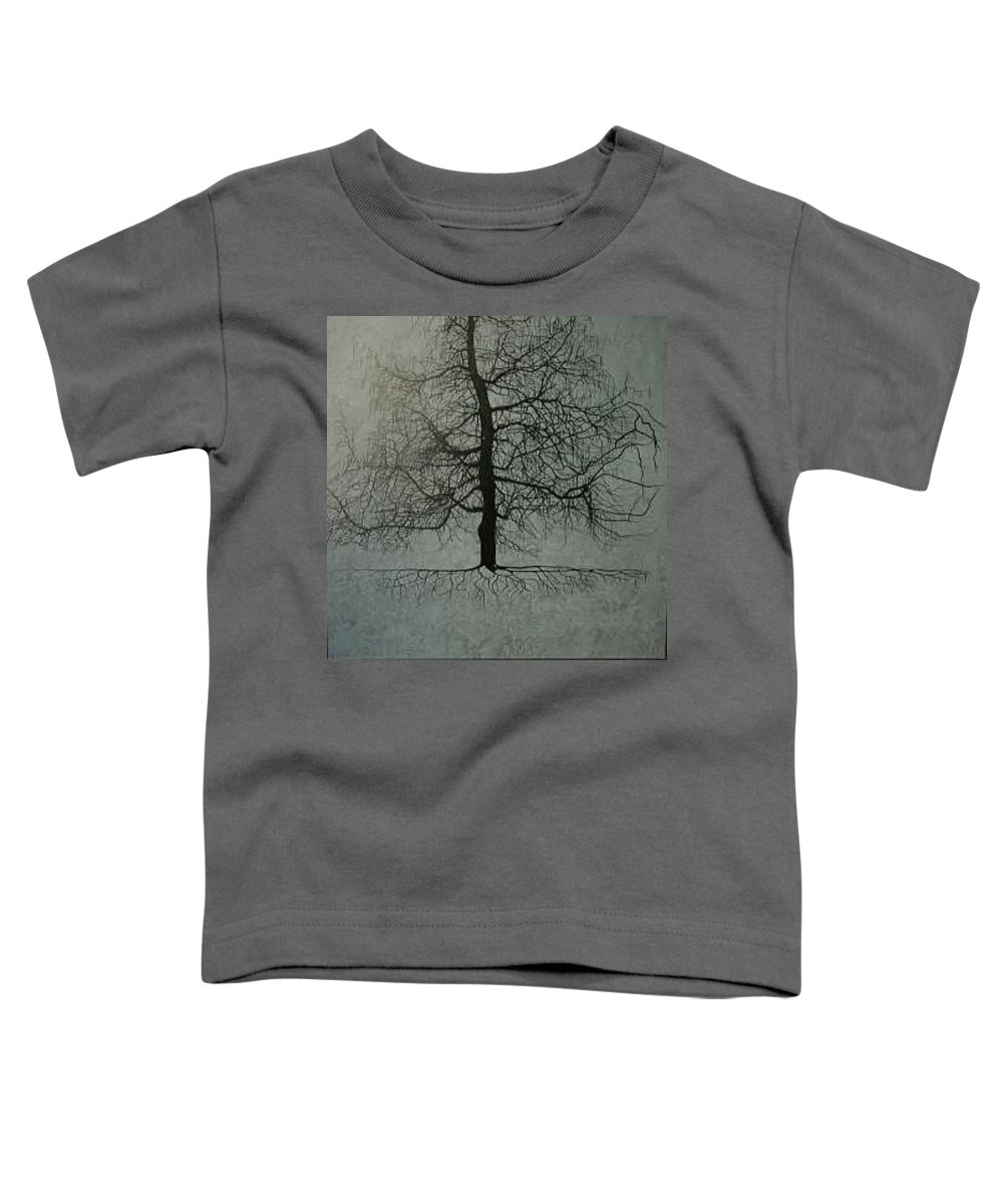 Silhouette Toddler T-Shirt featuring the painting Untitled Blue by Leah Tomaino