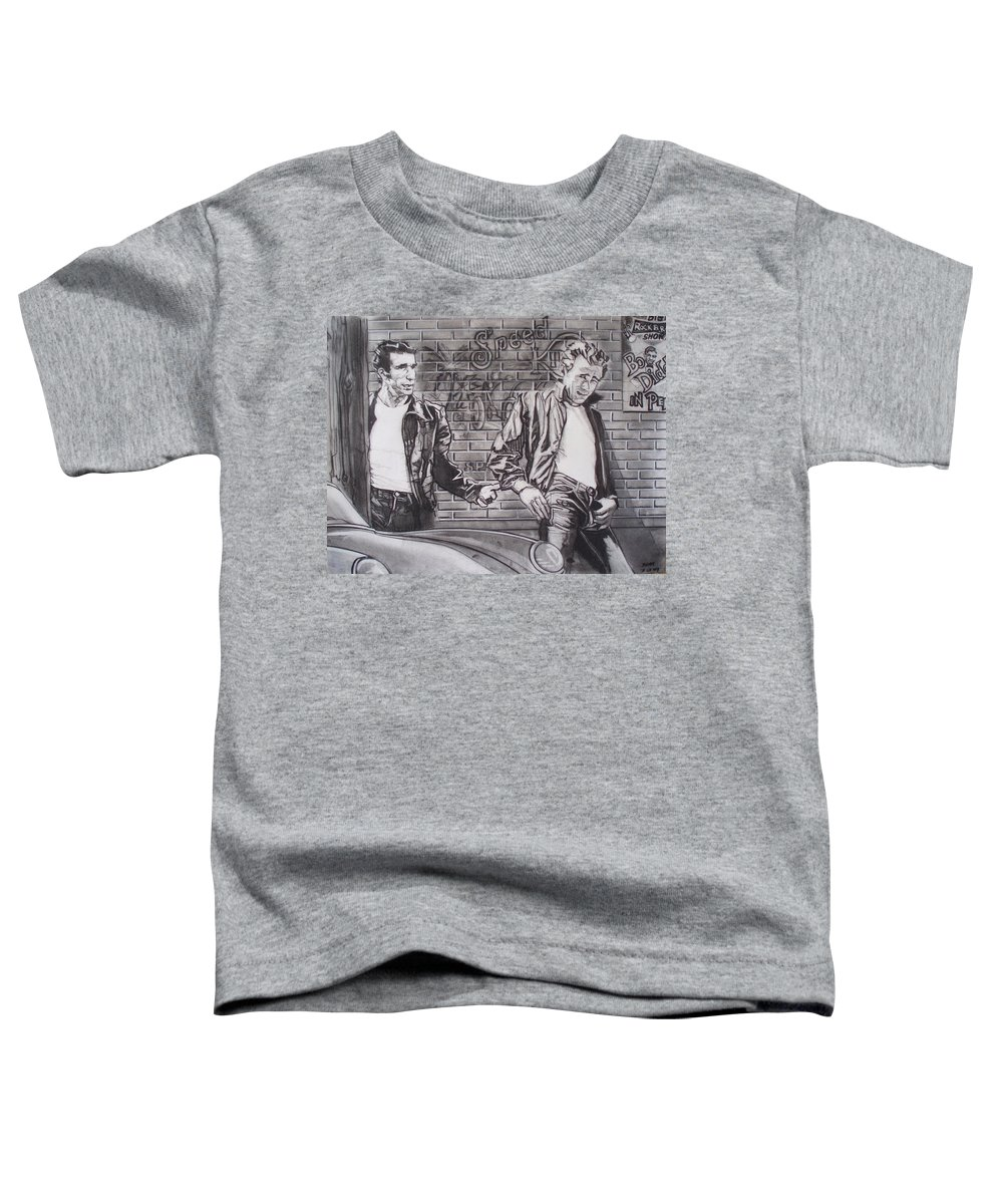 Americana Toddler T-Shirt featuring the drawing James Dean Meets The Fonz by Sean Connolly
