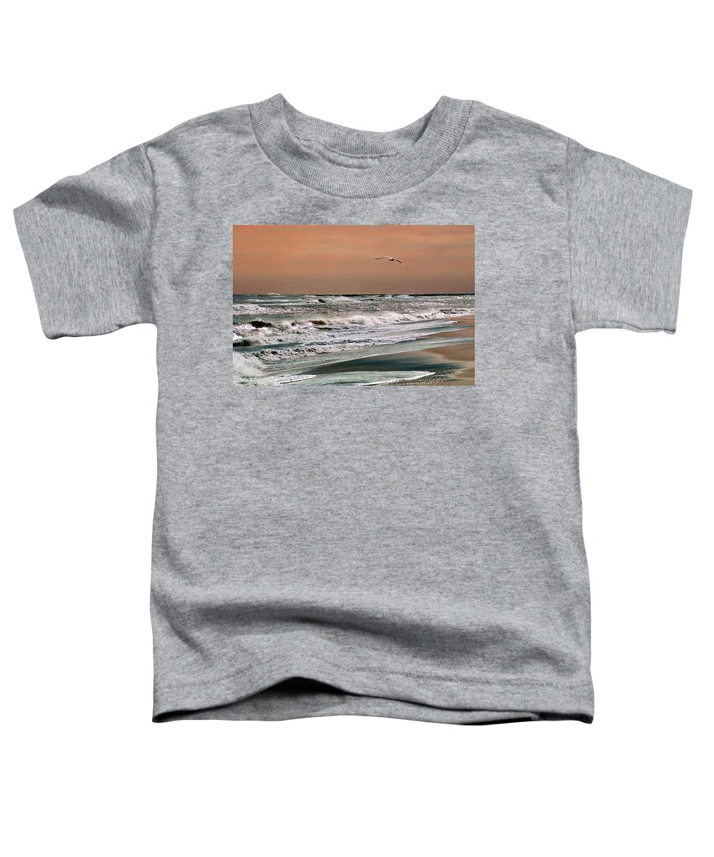 Seascape Toddler T-Shirt featuring the photograph Golden Shore by Steve Karol