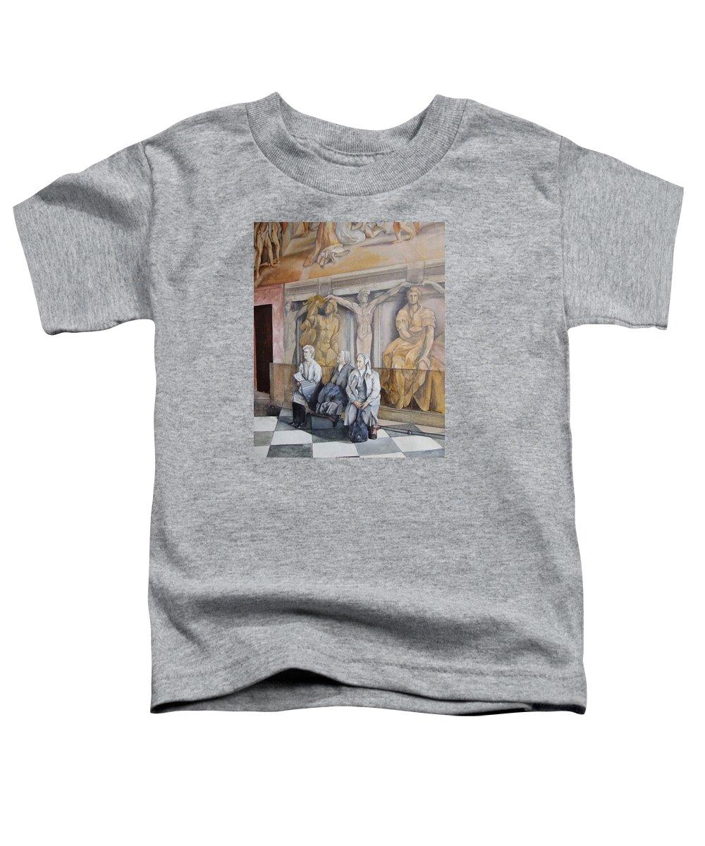 Vaticano Toddler T-Shirt featuring the painting Reposo En El Vaticano by Tomas Castano