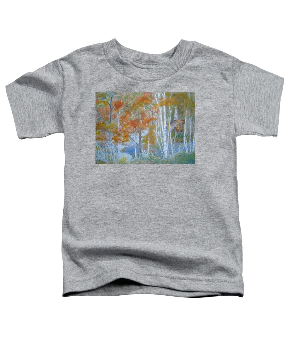 Church; Landscape; Birch Trees Toddler T-Shirt featuring the painting Sanctuary by Ben Kiger