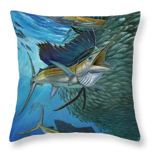 Terry Bird Decorative Pillow : Sailfish With A Ball Of Bait Throw Pillow for Sale by Terry Fox