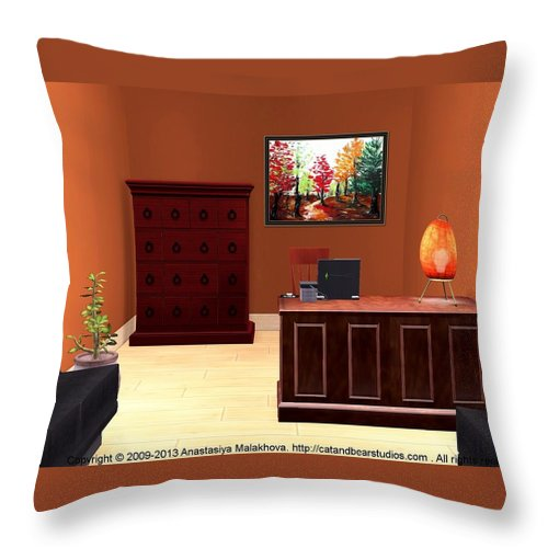 Interior Throw Pillow featuring the painting Interior Design Idea - Autumn by Anastasiya Malakhova